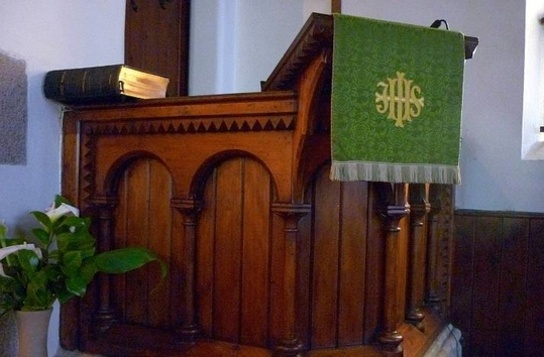 Church pulpit with bible