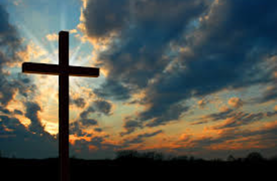 Cross with sunset background